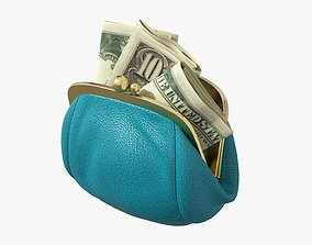 3D model Female purse with banknotes