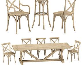 3D Restoration Hardware - Madeleine Chairs And Salvaged