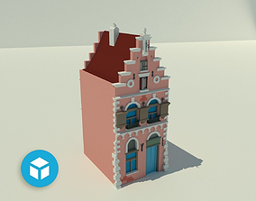 3D asset Wide tenement with pink elevation