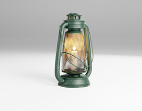 Old Lantern with Candle and scratches and a bit 3D asset 1