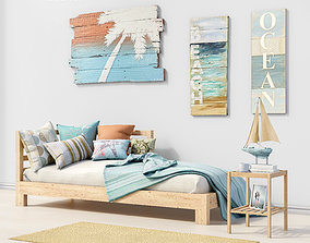 3D sea Set of furniture and decor for the bedroom 1