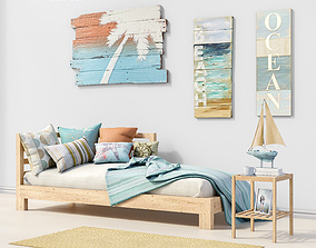 3D Set of furniture and decor for the bedroom 1