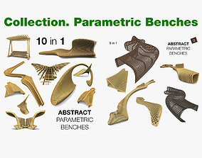 Parametric Abstract Wood Benches 16 Models