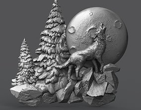 The wolf howling in the full moon 3D print model