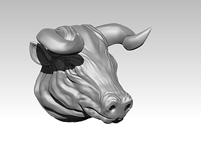 Bull head 3D printable model bull