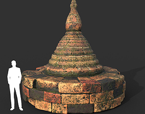 3D model Low poly Mossy Brick Ruin Asia Temple 03
