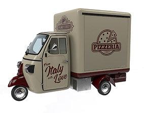 3D model Piaggio ape pizza trailer