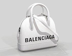 Balenciaga Ville Top Handle XXS Bag White Leather 3D