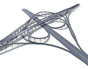 Highway Road Viaduct Flyover-13 3D model