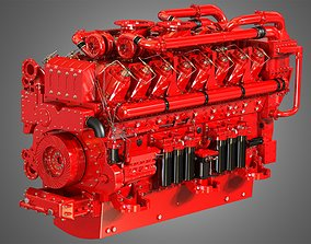 3D model QSK95 16 Cylinders Engine - Marine Turbocharged 1