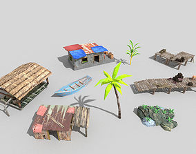 3D asset 9 low poly beach props pack