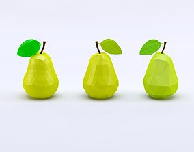 3D asset Cartoon low poly pears