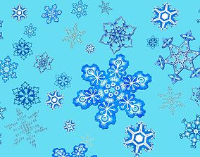3D asset low-poly Snowflakes