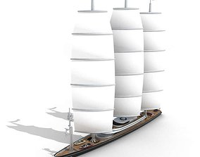 3D White Sailing Yacht With Sails