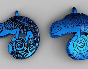 3D print model 2 versions chameleon necklace