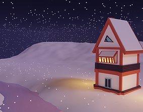 3D model Winter Season Christmas House 4