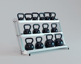 3D asset Kettlebell Rack - Gym Equipment
