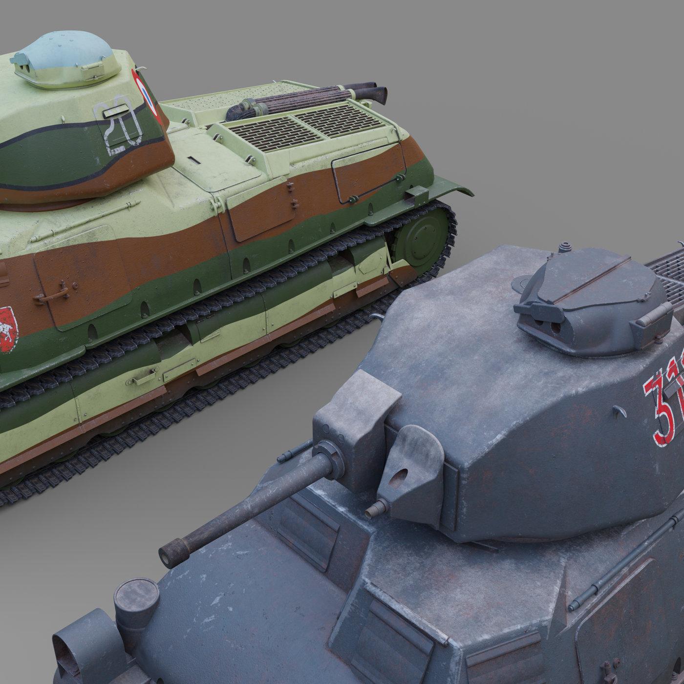 Panzerkampfwagen 35-S 739(f) and Somua S-35.