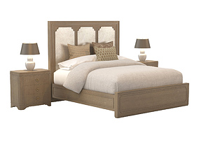 Modern Romance King Panel Bed with Night Table 3D model