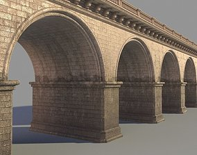 classic 3D model Arched stone bridge