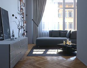 3D model game-ready Living room cinema4d