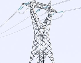 3D model High voltage power line - reverse delta tower