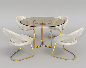 3D Modern Table and Chair Set 2