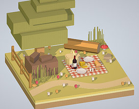 3D model isometric picnic with cheese and wine under a