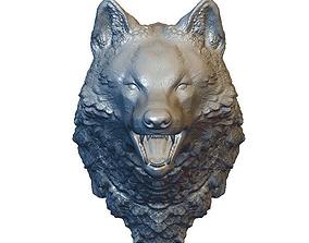 Solid wolf head 3D print model