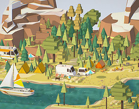 3D asset isometric style camping level constructor