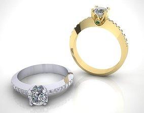 Engagement ring 6mm stone 3D print model