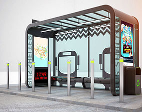 Bus Shelter 3D model broadway