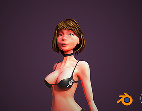 Rigged woman 3D Model animated low-poly