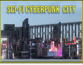 3D Sci Fi Cyberpunk City Buildings Futuristic