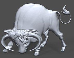Bull bas relief for CNC sculpture 3D printable model
