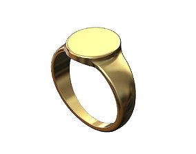 Plain Engravable oval signet ring 3D printable model
