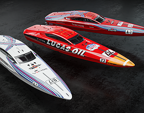 3D model Vector V40R offshore powerboat with 3 racing