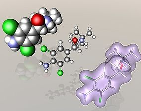 Clenbuterol molecule 3D model