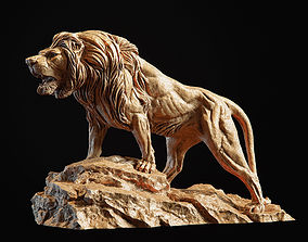 PBR figurine Lion Sculpture 3d print model