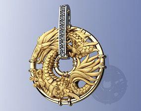 Gold Dragon Pendant 3D print model