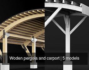Woden pergola and carport 3D model