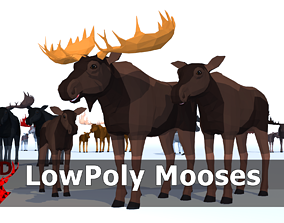 3D asset LowPoly Mooses pack
