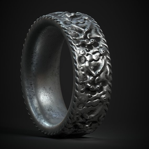 silver ring jewelry model PBR
