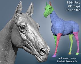 Realistic Horse Basemesh 3D model printready