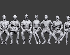 Lowpoly People Sitting Pack Volume 3 3D model