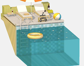 3D asset summer Relax by the pool on the sun loungers