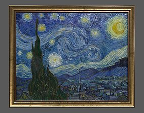 Bronze Frame with Stretcher and Van Gogh Oil 3D asset