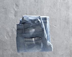 3D asset Blue Folded Jeans