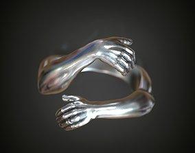 3D printable model Ring hands hugging finger