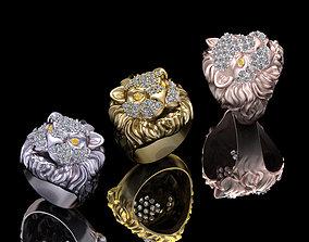 lion Ring jewelry 3D print model diamond-ring